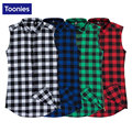 TOONIES Fashion Hip Hop Sleeveless Plaid Shirt Men Leisure Street Shirts Homme Tops Brand Clothing Summer Top 2017 S-2XL