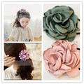 korean style baby girls big rose Fabric Elastic Hair Bands Rope Ties Hair Accessories Flower Women Fashion Red rose Hairband
