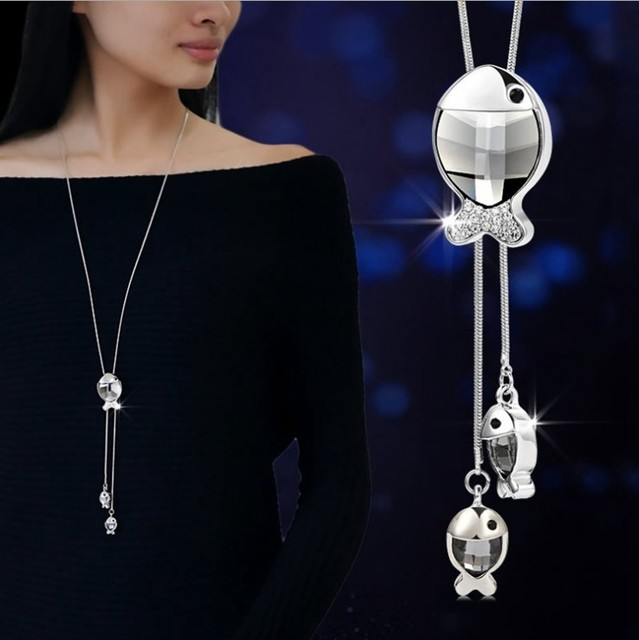 Fashion long section of fish sweater chain necklace Fine jewelry Crystals from Swarovski female clothes hanging chain jewelry