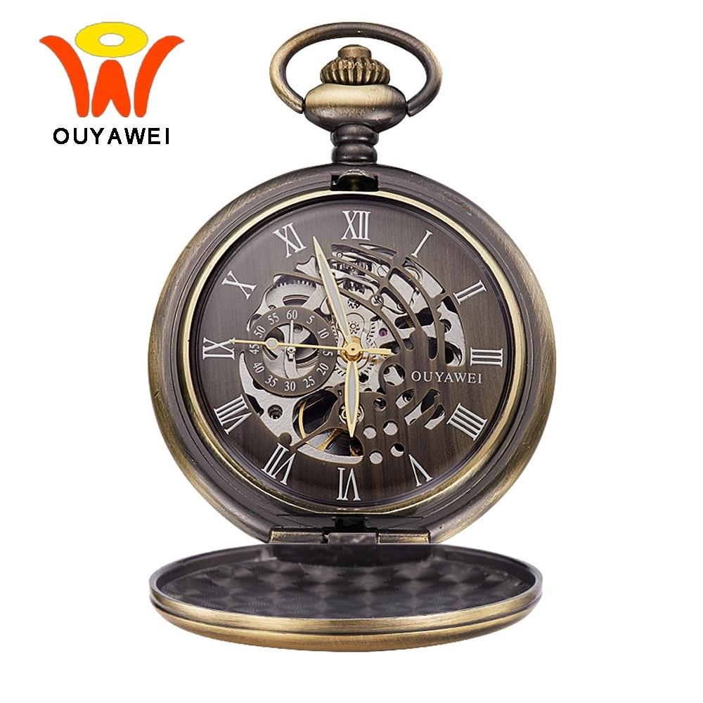 Vintage Bronze Skeleton Mechanical Pocket Watch Men With Chain Steampunk Clock Necklace Watch Hand Wind Pocket & Fob Watches