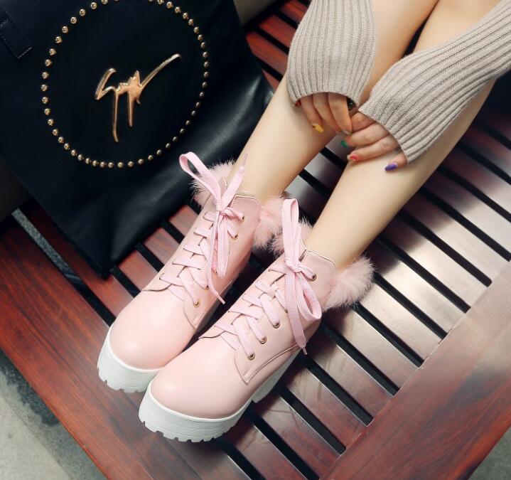 pink Tobillo Tacón Invierno Zapatos Plus Byb16116 26 Encaje Y Moda Tamaño white Botas Bombas Laides Alto Grueso Mujer 62 De Black gHnHIqwv