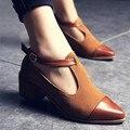 2017 Do Vintage Oxford Sapatos Mulheres Dedo Apontado Cortar Calcanhar Med Patchwork Fivela Sapatas Das Senhoras Apartamentos WFS112