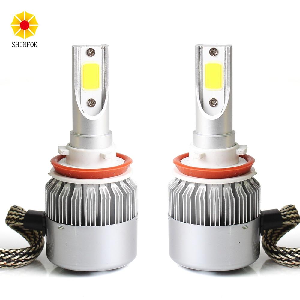 Car LED Headlight H1 H3 H11 /H8/H9 Models 2PCS Bulbs High Power COB Chips 6000K Auto Car Styling Repalcement Headlamp