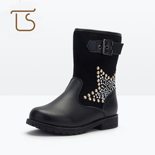 T.S. kids boots New Fashion Comfortable Children Genuine Leather Martin Boots Girls Winter Shoes Kids Thick leather boots