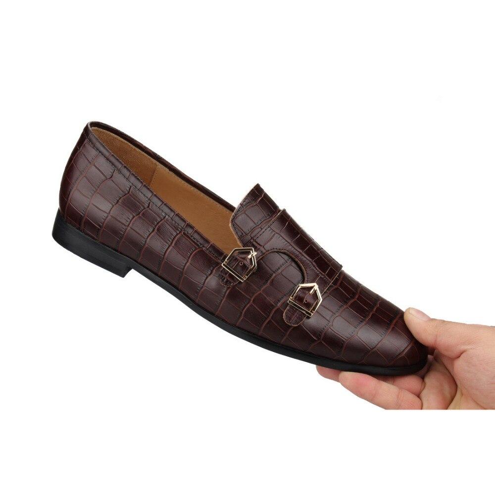 Partido Casuais De Marrom Sapatos Moda Tiro Plus Couro Crocodilo Claro Banquete Da Britânico Genuíno Legal Com Estilo Size azul Homens Ferrolho Padrão q7BAzz