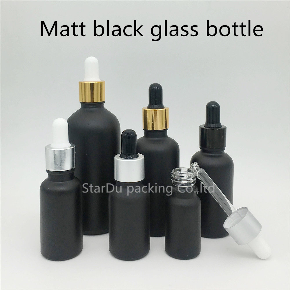 high-quality 10ml,15ml,20ml,30ML Matt Black Glass Bottle With Dropper Essential Oil Bottle ,Perfume bottle free shipping 5 10 15 20ml 10pcs lot glass green essential oil bottle with dropper packing dilution bottle
