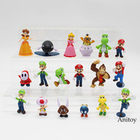 Wholesale Retail Free Shipping Plastic Super Mario Bros PVC Action figures Toys Dolls 18pcs/set KT3863