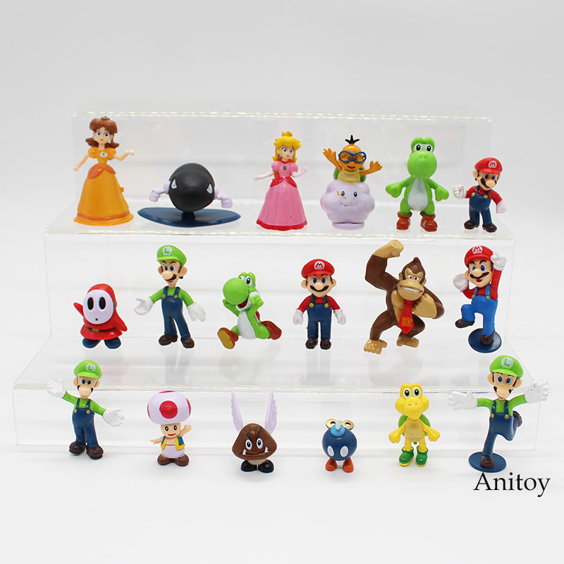 Wholesale Retail Free Shipping Plastic Super Mario Bros PVC Action figures Toys Dolls 18pcs/set KT3863 free shipping super big size 12 super mario with star action figure display collection model toy