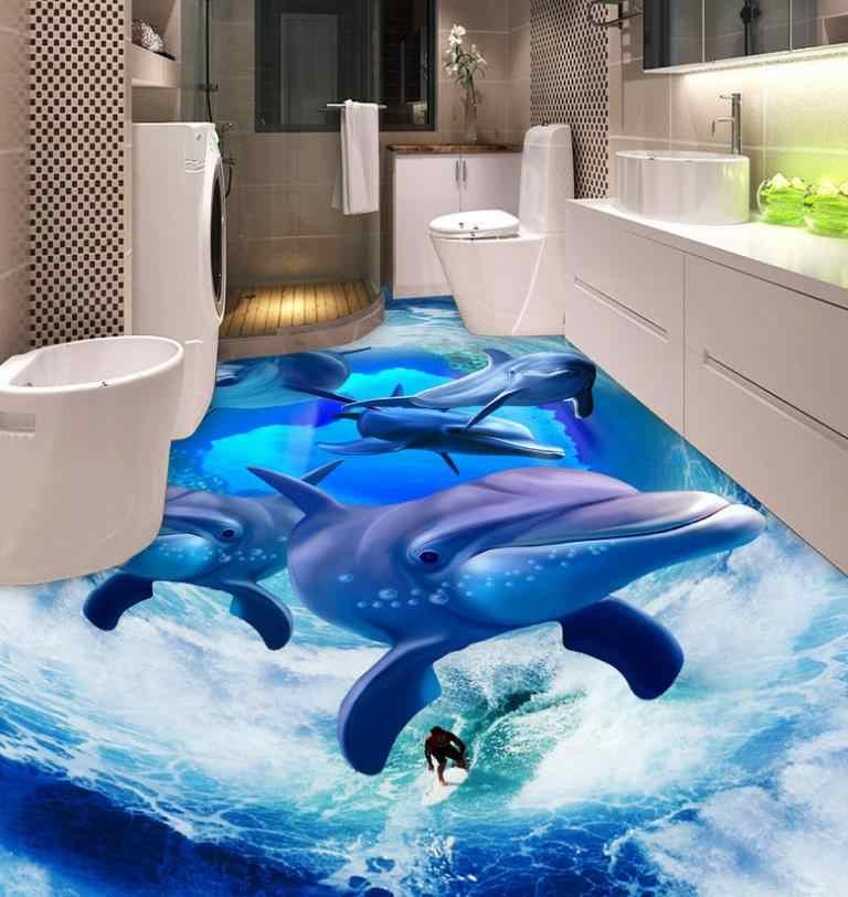 Murales de techo 3D respetuosos con el medio ambiente papel pintado olas personalizadas delfines restaurante papel de pared fondos de techo sala de estar