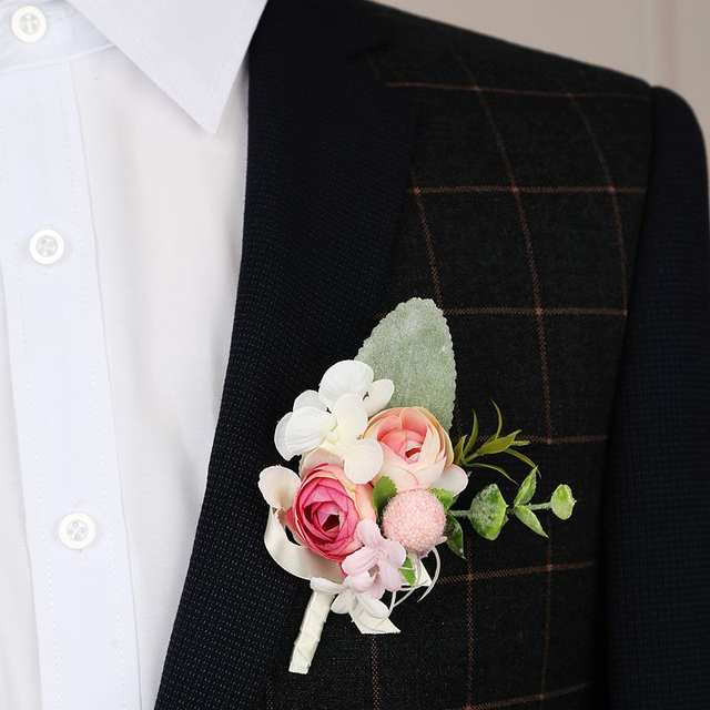 Artificial Silk Pink Rose Flower Groom Boutonniere Man Onholes Bride Wrist Corsage Women Hand Wedding Flowers