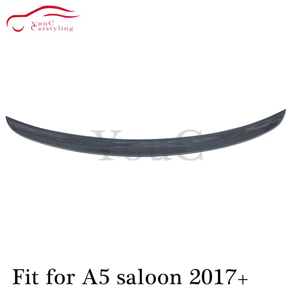 New S5 style carbon fiber rear spoiler for <font><b>Audi</b></font> <font><b>A5</b></font> 4-door saloon <font><b>sportback</b></font> <font><b>2017</b></font> + Trunk boot lip tail spoiler wing image
