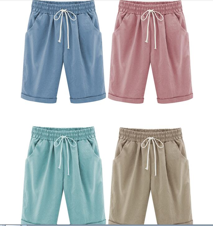 Shorts M 5XL Solid Women Summer Shorts Cotton With Tie Pockets Elastic High Waist Large Size Knee Length Streetwear Shorts 6XL