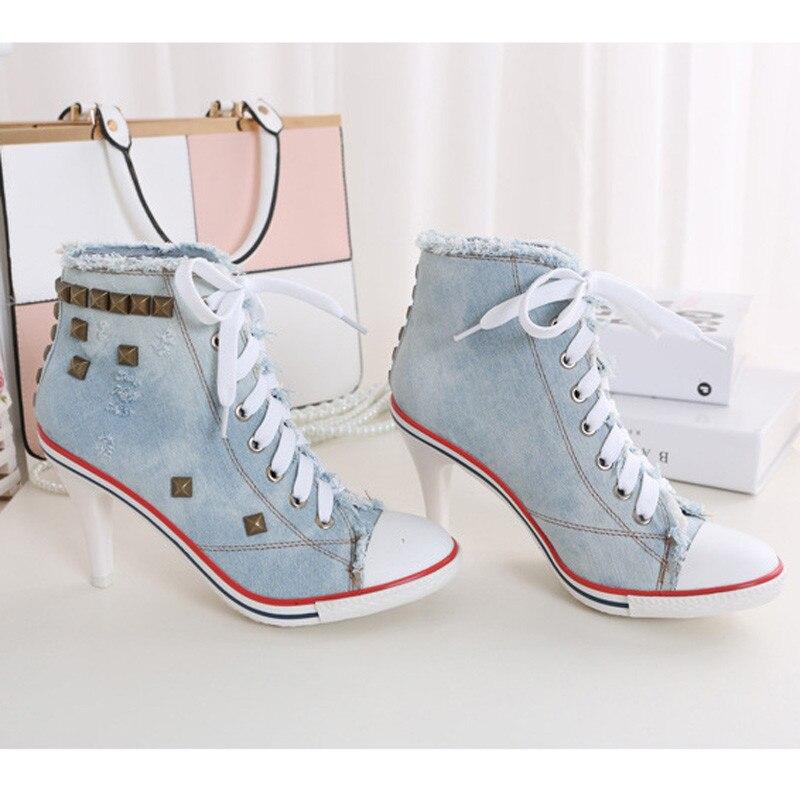 2018 haut toile chaussures 8.5 cm talon bottines à lacets haut talon chaussures Femme décontractées Rivet Demin Chaussure Femme - 5