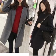 купить 2016 Fashion Woolen Long Slim Students Thicken Coat Women Overcoat S M L XL Gray/Dark Blue недорого