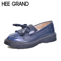 HEE GRAND 2017 New Creepers Platform Shoes Woman Tassel Loafers Casual Slip On Flats British Style