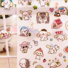 6 pcs/pack Cute Big ear dog Decorative Washi Stickers Diary Album Label Sticker DIY Scrapbooking Stationery Escolar