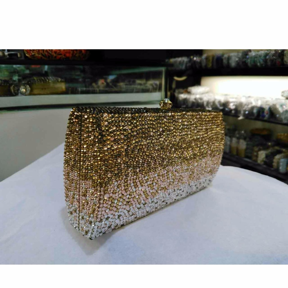 ФОТО L7745T gold Crystal Lady Fashion Bridal Party Metal Evening purse handbag clutch bag case box