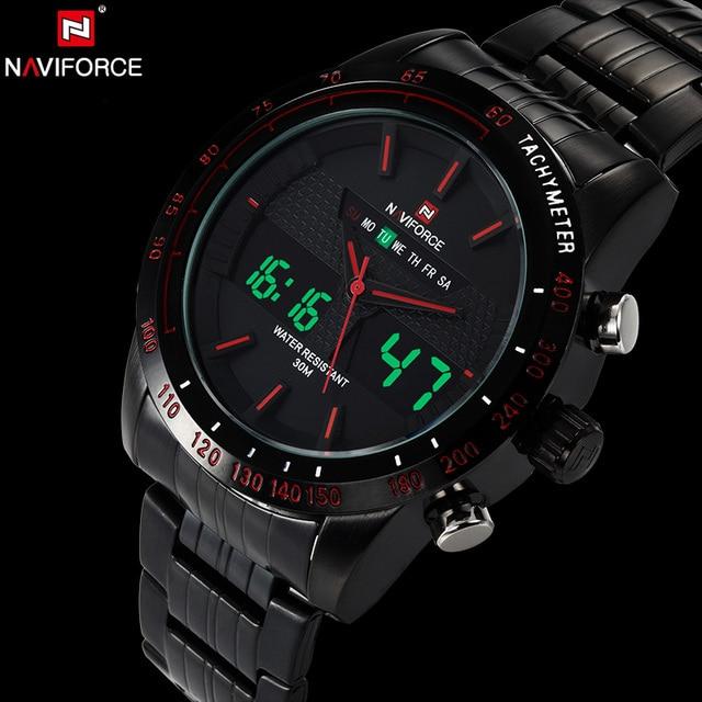 NAVIFORCE Original Luxury Brand Stainless Steel Quartz Watch Men Digital LED Clock Military Sports Wristwatch relogio masculino