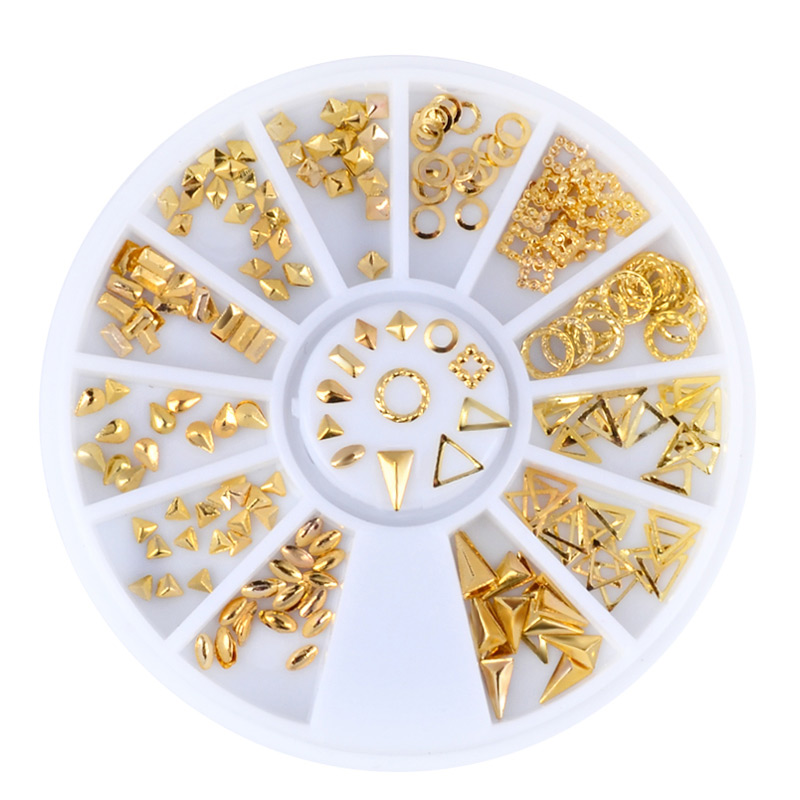 1 Box Gold Metal Hollow Nail Art Studs Decorations Droptear Triangle Square Designs Nail Tips Accessories Manicure Tools 1 box gold matte nail art rhinestone studs wheel 3d metal square triangle shaped nail decoration accessories