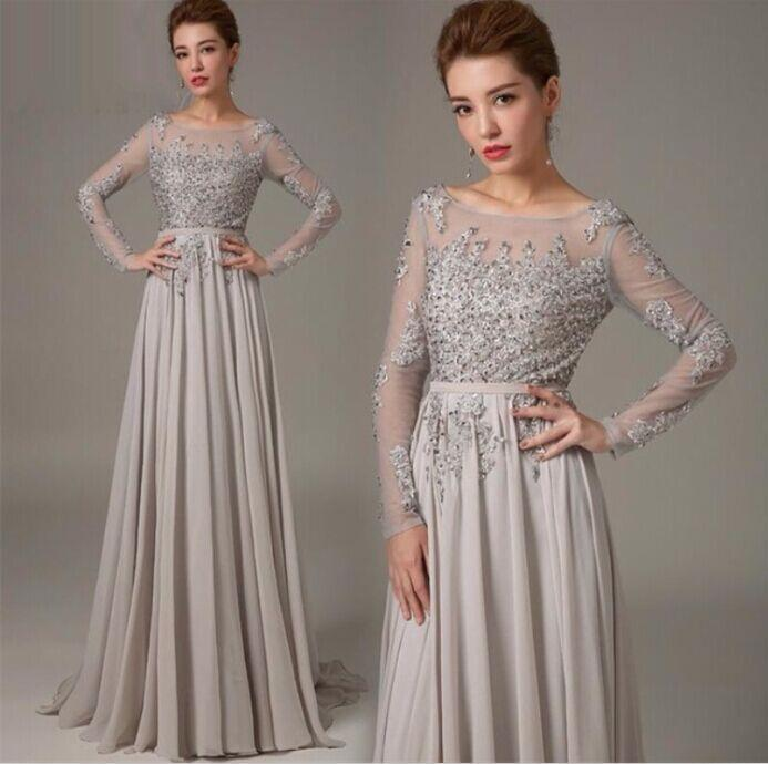 Aliexpress.com : Buy 2015 evening gowns sleeves Silver long sleeve ...
