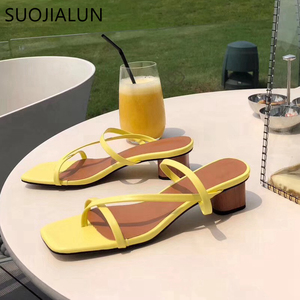 Image 4 - SUOJIALUN 2019 Brand Summer Women Slipper Low Heel  Slides Female Peep Toe Square Heel Sandal Vacation Flip Flops mujer Shoes