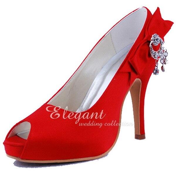 ФОТО Woman Sexy Red Heels EP11010-IP Peep Toe Side Bow Rhinestone Platform Satin Evening Women Evening Party Pumps