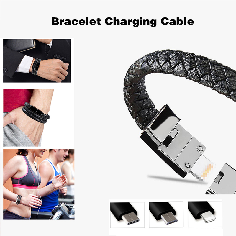 USB Charging Bracelet Charger Portable Outdoor Micro Data Cable Sync Cord for IPhone XR Android Type-C 60CM