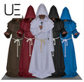FREE SHIPPING Monk Hooded Robes Cloak Cape Friar Medieval Renaissance Priest Men Costume Cosplay Halloween costume for men