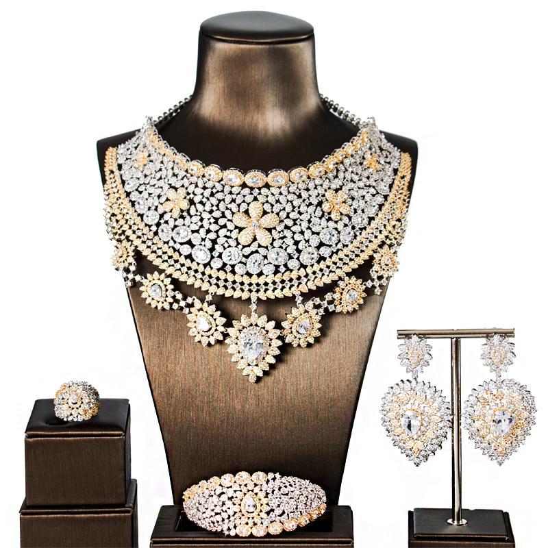 Zircon nuptiale mariage ensembles de bijoux exquis zircone collier/boucles d'oreilles/bague/Bracelet ensemble complet pour les femmes