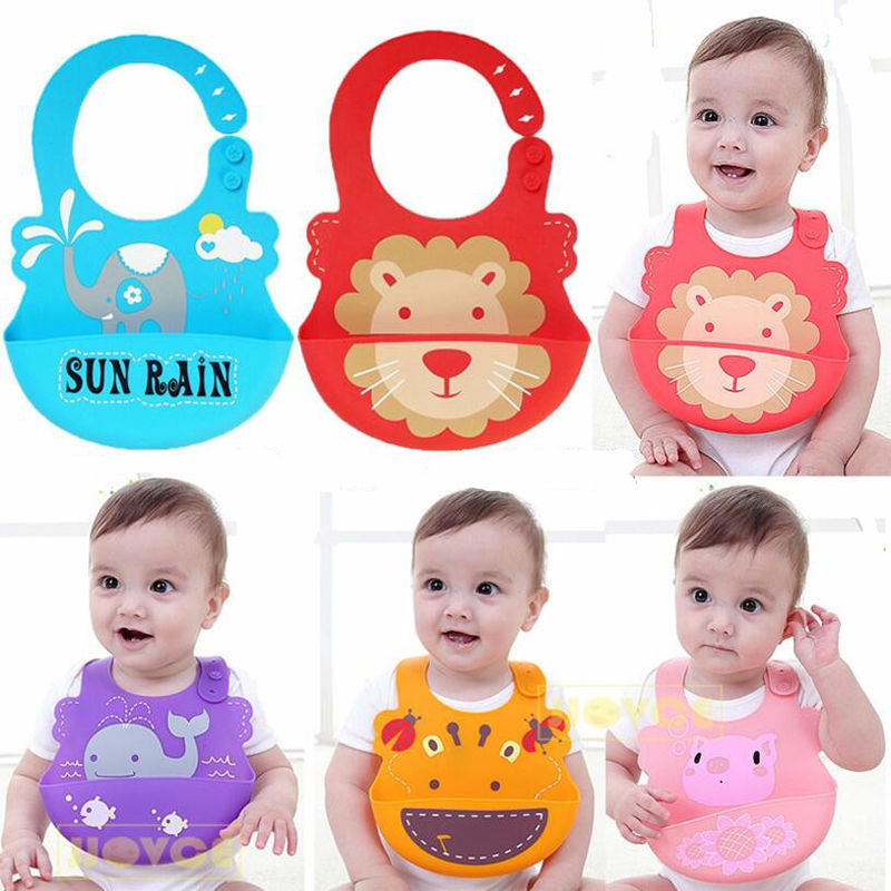Baby Bibs Waterproof Silicone Feeding Infant Saliva Towel For Newborns Cartoon Aprons Baby Food-grade Silica Gel Bibs Babadores ...