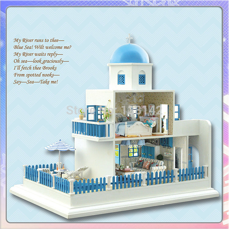 ФОТО A019 large diy dollhouse castle voice lights and muisc wooden doll house miniature toys handmade model