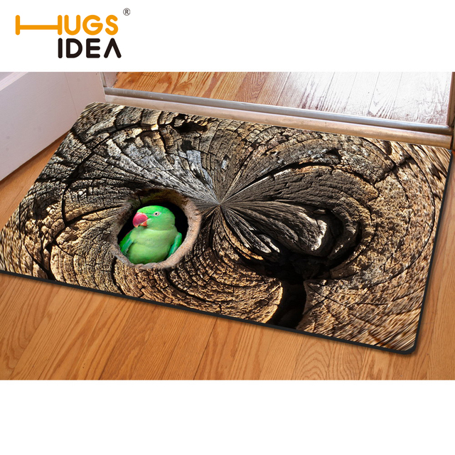Hugsidea Front Entrance Carpets 3d Tree Hole Owl Birds
