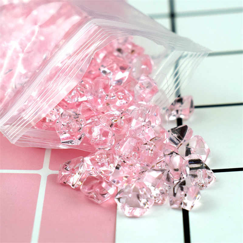 200Pcs Slime Filler Charms Acrylic Simulated Ice Cube Crystal Stone Transparent Decoration For DIY Slime Supplies Lizun Toy Kid