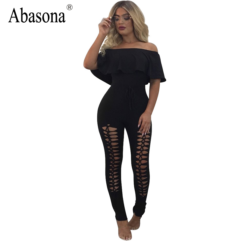 Abasona Cut out bodycon women jumpsuits sexy party club wear summer jumpsuit Hollow out rompers ruffles neck black hole overalls