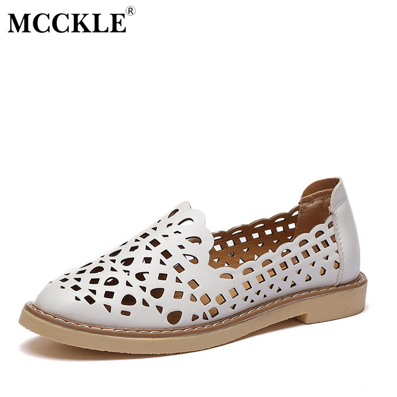 MCCKLE 2017 New Fashion Women Shoes Flat Woman Round Toe Platform Cut-Outs Casual Comfortable Black Summer Style Hot Sale e hot sale wholesale 2015 new women fashion leopard flat shallow mouth shoes lady round toe shoes