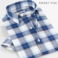 Men Shirt 2016 New Style Summer  Short Sleeve Brand-Clothing Linen Cotton Camisa Masculina Plaid Men's Shirts 5XL 6XL