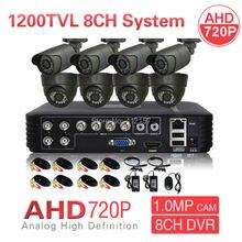 Home CCTV 8CH DVR 720P 1200TVL 1.0MP Outdoor IP66 Day Night IR AHD Security Camera System DIY Surveillance Kit Motion Detection