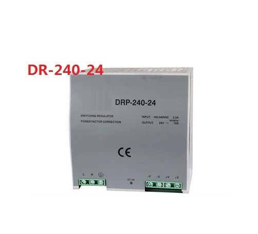 Din rail type 240W 24v 10A single output switching power supply ac-dc smps for led light, cnc cctv, model: DR-240-24 45w din rail mount switching power supply 24v single output ac led input smps dr45 24v for cnc led light direct selling