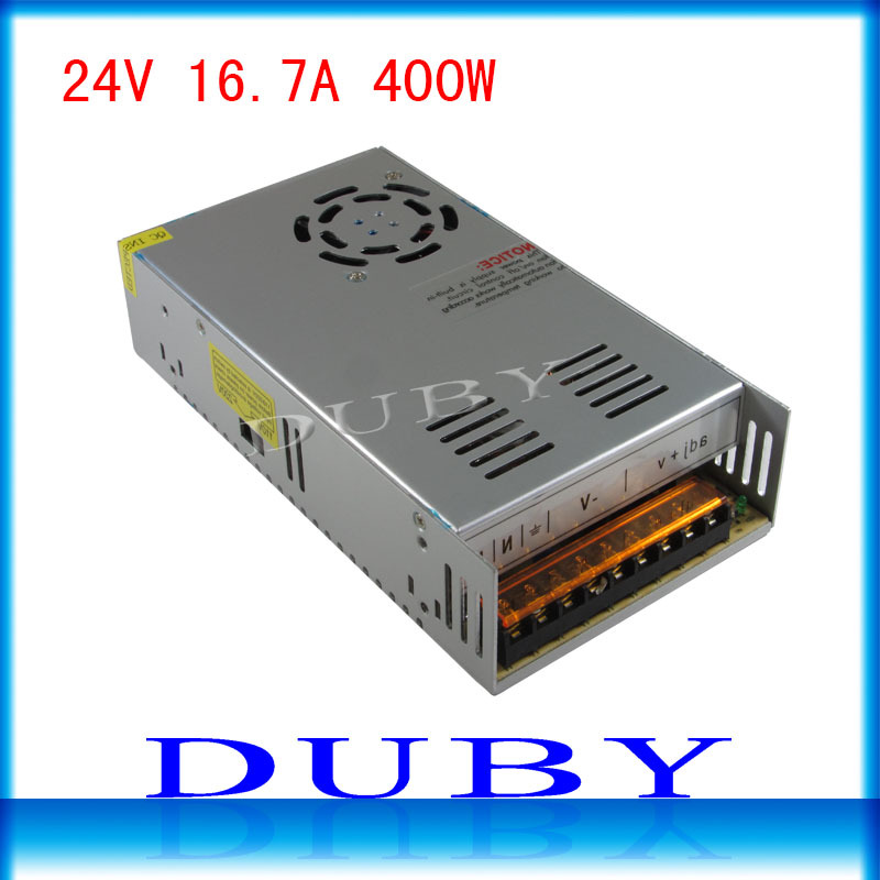 50piece/lot 24V 16.7A 400W Switching power supply Driver For LED Light Strip Display AC100-240V  Factory Supplier  Free Fedex ac 85v 265v to 20 38v 600ma power supply driver adapter for led light lamp