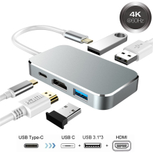 Type-C À HDMI Adaptateur 5 En 1 Type C USB3.0 HDMI 1.4 Multi 4 K Video Converter Avec USB C USB HUB Box 3.0 Pour Macbook Chromebook(China)