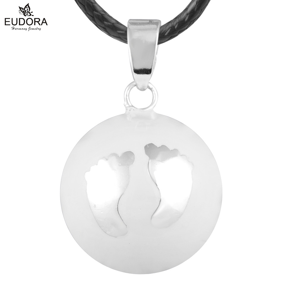 N14NB163 Baby Footprint Pendant White Belly Bola Necklace Harmony Bola Ball Angel Caller