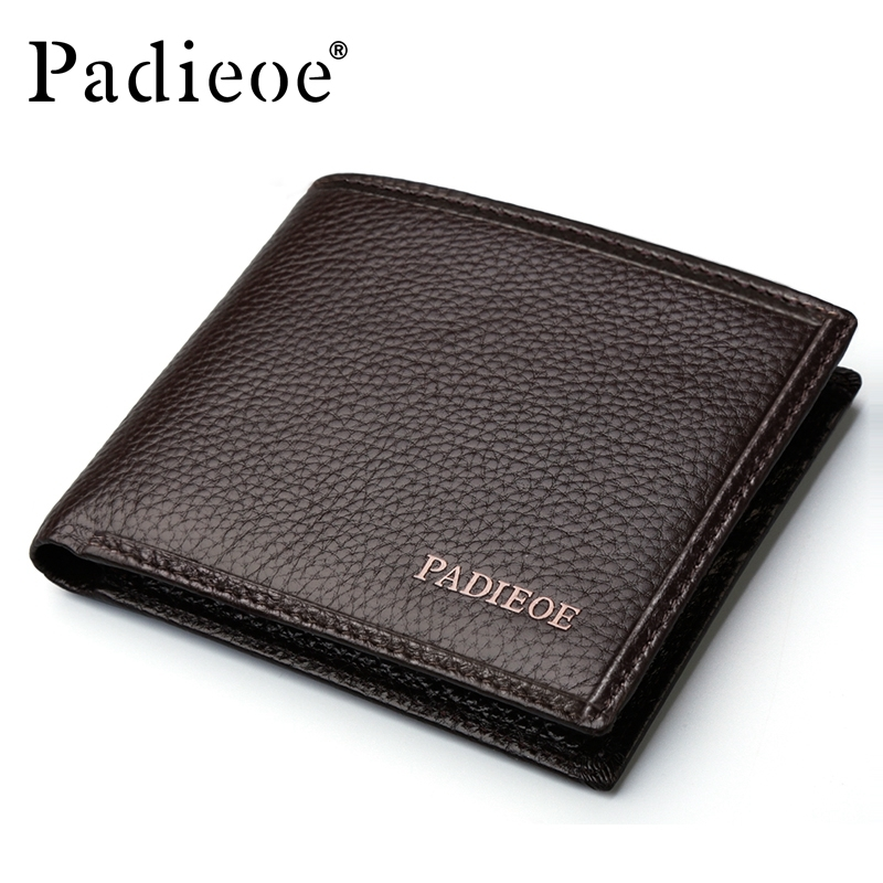 Padieoe Genuine Leather Men Wallets Famous Brand Male Wallet For Business Man Solid Brown Color Short Wallets Men Clutch Wallets 2016 famous brand new men business brown black clutch wallets bags male real leather high capacity long wallet purses handy bags
