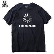 COOLMIND QI0235A new design comfortable kintted I m thinking printed men T shirt casual o neck