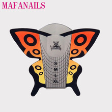 Disposable XL Size Orange Silver Butterfly Nail Forms 100PCS Art Guide Form For DIY Extension Sticker Tools , Free Shipping