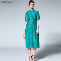 wreeima 2019 Women Summer Dress Chinese Style Vintage Embroidery Stand Collar Half Sleeves A Linen Dress Vestido Plus Size M 3XL