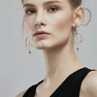 Enfashion Circle Line Dangle Earrings Gold Color Earings Stainless Steel Drop Earrings For Women Long Earring