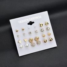 12 pair/set Women Square Crystal Heart Stud Earrings for Women Piercing Simulated Pearl Flower Earrings