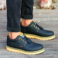 Spring Sewing Men Sport Casual Leather Shoes Brogues Rubber Shoes Men Flats Lace-Up Business Leather Boots Multi-color  NS066