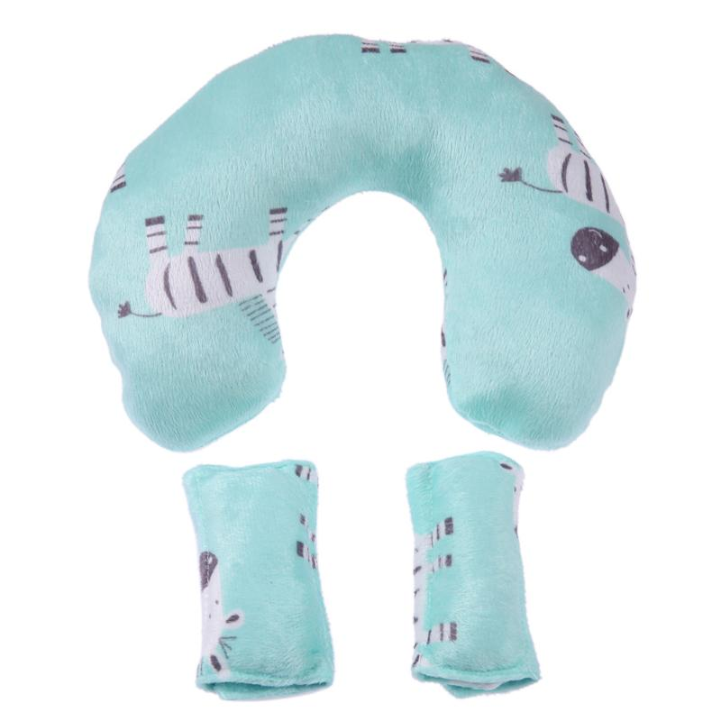 Soft Baby Safety U-shaped Pillow With Protective Cover Car Seat Stroller Pillow Cartoon Short Plush Infant Head Neck Support Strollers Accessories Activity & Gear