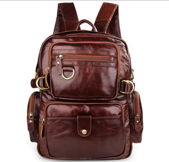 Mountaineering casual men and women Genuine  leather retro backpack